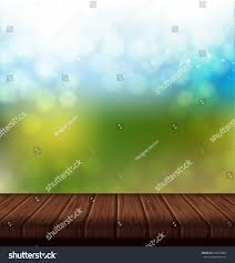 Wooden Table Background Vector Wood Table Summer Background Bright Blue Stock Vector 634532066