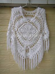 Handmade Poncho - white fringed shawl poncho cape handmade crochet tops with tassel