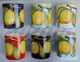 bicchieri in ceramica bicchieri cm 10 senza manico decoro limoni baldini ceramiche