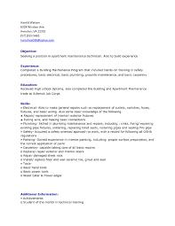 Building Maintenance Resume Samples by Sample Resume Format Sample Resume Format Similiar Apartment