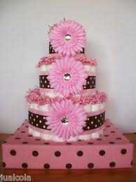 pink and brown baby shower pink brown dots big cake with stand girl baby shower