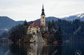 Slovenia Lake Island Church In Slovenia Lake Bled Stock Photo Picture And