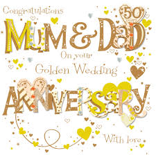 50 year wedding anniversary golden 50th wedding anniversary greeting card cards