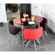 round red and black glossy dining table added by three black and