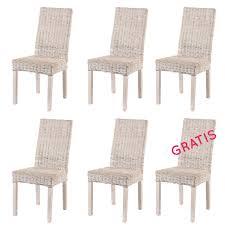 Esszimmerst Le Design 6er Set Esszimmerstühle Ellen Weiß Rattanmöbel Von Rotin Design