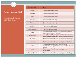 list of engines learn the search engine type and its functions