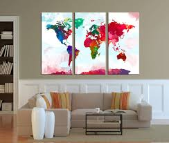 Large Framed World Map by Wall Art Canvas Print Watercolor World Map Art Watercolor 3