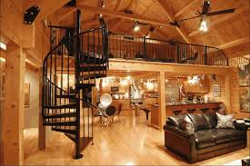 interior log homes modern log home interior spiral staircase to loft decorating