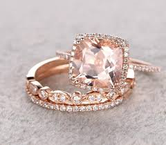 wedding trio sets sale 2 carat morganite and diamond trio wedding bridal ring set in