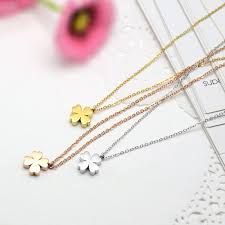 gold clover pendant necklace images Stainless steel four leaf clover pendant necklace womans four jpg