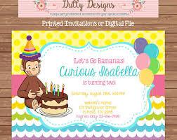 curious george invitation monkey birthday handmade invitation