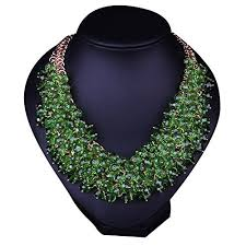 necklace statement images Hamer women 39 s green bib choker statement necklace gold jpg
