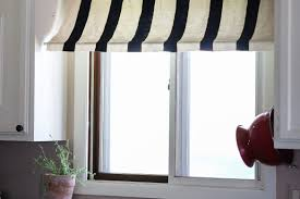 diy black and white striped kitchen window awning from drop cloth