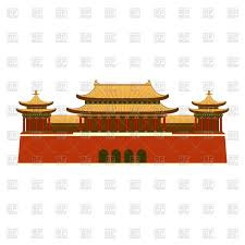 palace with east asian roof decoration vector clipart image