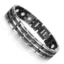 man titanium bracelet images Wollet magnetic titanium bracelet mens for arthritis black tib jpg