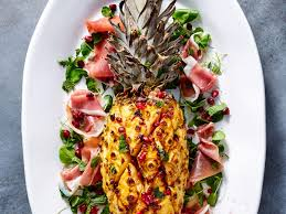 thanksgiving ham recipes with pineapple ham cured pineapple with prosciutto and pomegranate recipe myrecipes