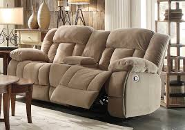 dual recliner sofa with console comfortable and unique sofas