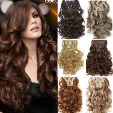 synthetic hair extensions new hair 7pcs set clip in hair extension curly synthetic hair