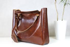 Handmade Leather Tote Bag - brown leather tote bag cognac brown medium size