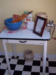 enamel top table with vintage kitchen items vintage kitchen
