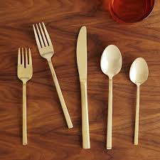 Flatware Sets by Gold Cutlery 5 Pc Place Setting West Elm Uk