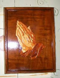 marquetry praying wooden inlay wall plaque 11 3