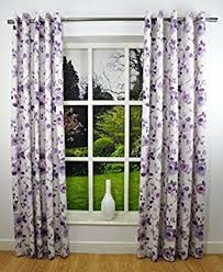 Purple Floral Curtains 90x72 Inches Ring Top Plum Purple Watercolour Floral Fully Lined