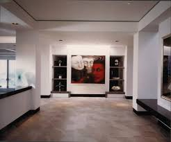 recessed baseboards dark baseboards hall contemporary with tray ceiling wall decor tile