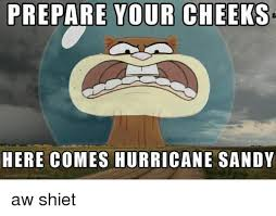 Shiet Meme - prepare your cheeks here comes hurricane sandy aw shiet meme on me me