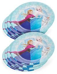 vaisselle jetable fete 8 petites assiettes en carton la reine des neiges 19 cm
