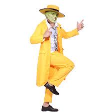 men 90s fancy dress the mask jim carrey costume yellow gangster
