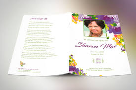 Funeral Program Printing Services Purple Watercolor Funeral Program Publisher Template On Behance