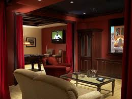simple traditional home theater room in basement decorating
