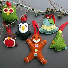 deluxe box of handmade felt christmas decorations by thebigforest
