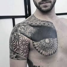 chest shoulder dotwork best ideas gallery