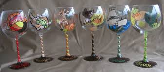 thanksgiving theme painted wine glasses can be personalized