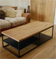 simple reclamed coffee table with wrought legs modern