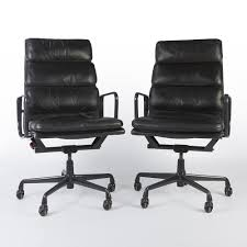 black leather desk chair original vintage pair herman miller ea219 black leather office