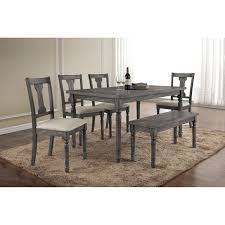 acme furniture wallace 6 piece rectangular dining table set