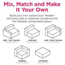 mix modular sofa 3 pc sofas gus modern