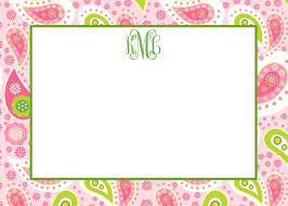 personalized flat note cards preppy paisley