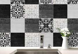 stickers carreaux cuisine sticker carrelage patchwork noir et blanc salles de bain