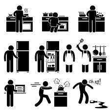 pictogramme cuisine homme faisant cuire le lavage au pictogramme de cuisine illustration