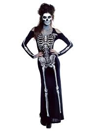 Halloween Posable Skeleton Women U0027s Plus Size Bone Appetit Skeleton Long Dress