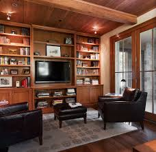 basement built ins home office traditional with leather ottoman