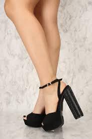 black open toe rhinestone circle chunky heels platform faux suede