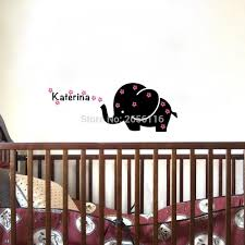 Nursery Name Wall Decals by Aliexpress Com Buy Personalized Baby Name Wall Decal Elephant