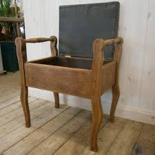 restored solid wood stool sewing box with lift up seat
