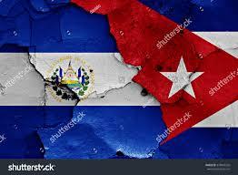 Flag El Salvador Flags El Salvador Cuba Painted On Stock Illustration 378945526