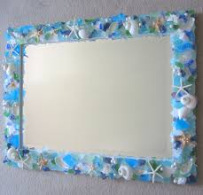 home decor sea glass mirror beach glass mirror beach grass cottage